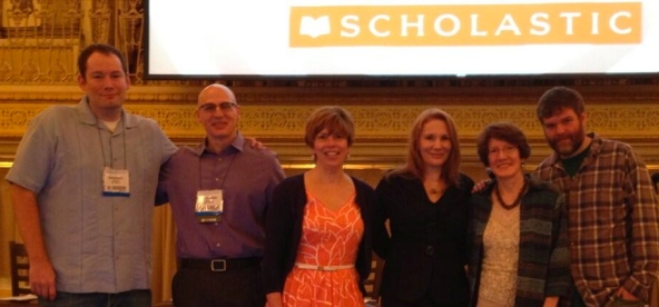 Brandon Mull, Gordon Korman, Kirby Larson, Kat Falls (me),  Kathryn Erskine, and Jeffrey Brown